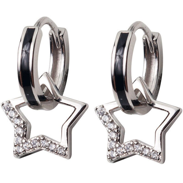 Big star silver hoops