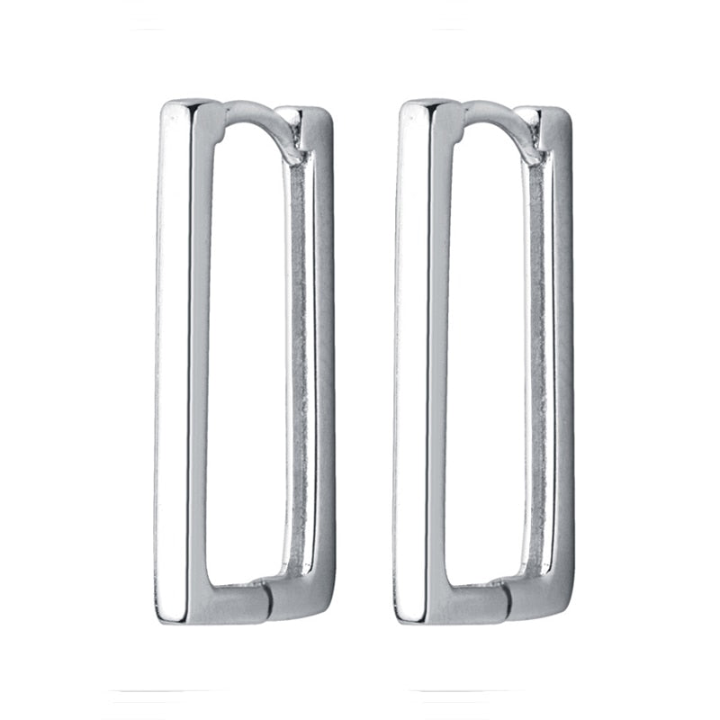 Rectangle silver hoops