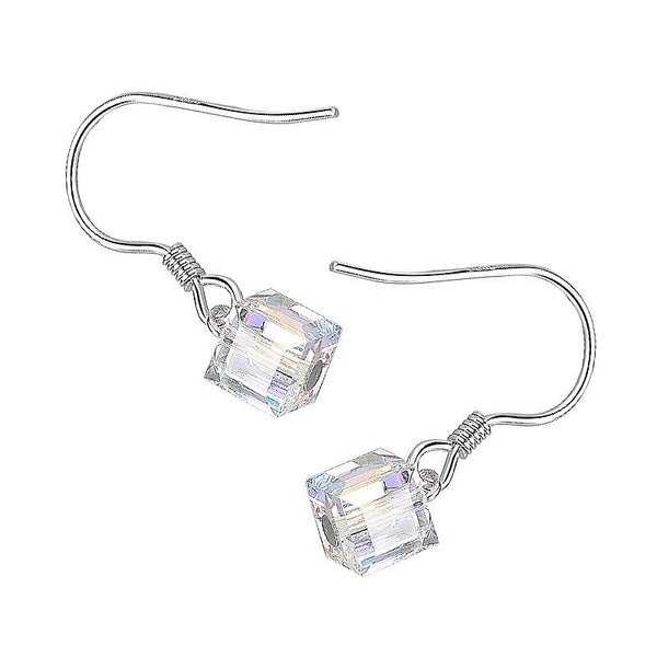 Transparent cube silver earrings