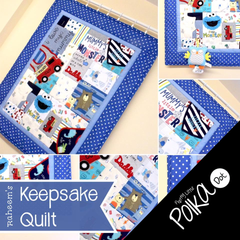 Boys Keepsake Quilt with Blue Polka Dot Border