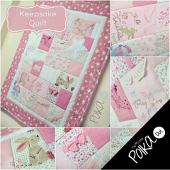 Girls Baby Clothes Keepsake Quilt with Pink Star border