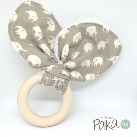 Beige Little Ellie Wood Teething Ring