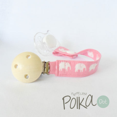 Pink Little Ellies Dummy Clip