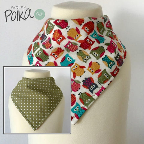 Jolly Owls Reversible Dribble Bib