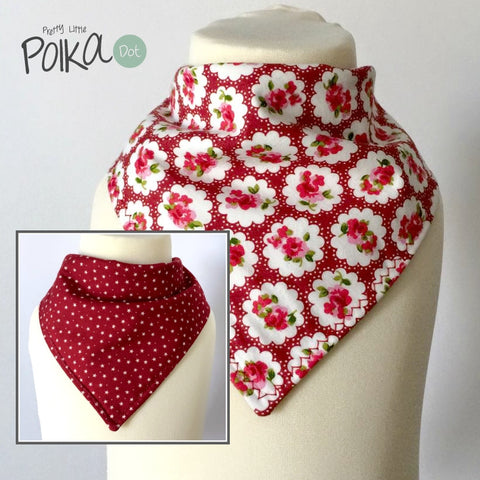 Red Provence Rose Reversible Dribble Bib
