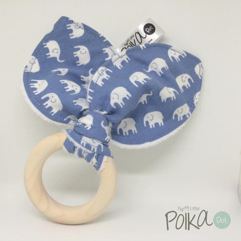 Blue Little Ellie Wood Teething Ring