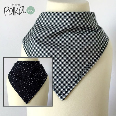 Black Gingham Reversible Dribble Bib