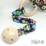Mini Navy Foxes Wood Teething Ring