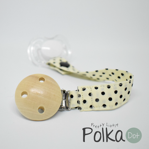 Cream and Black Polka Dot Dummy Clip