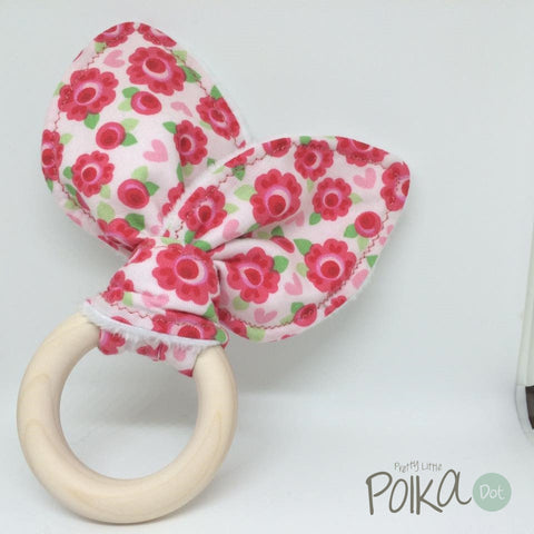Lovely Red Roses Wood Teething Ring