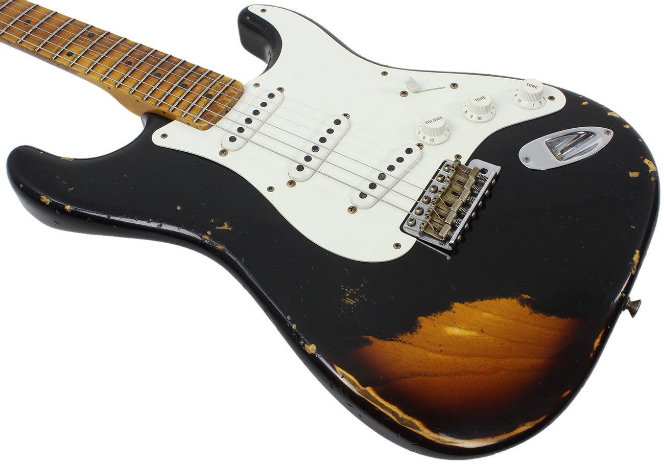 fender custom shop 1955 heavy relic stratocaster aged black over 2 t humbucker music. Black Bedroom Furniture Sets. Home Design Ideas