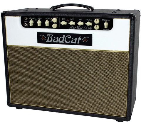 Bad Cat Hot Cat 15R Reverb Handwired 1x12 Combo Amp - Black / White - Humbucker Music