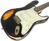 Nash S-63 Guitar, Black over 3 Tone Sunburst