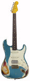 Nash S-63 Guitar, Turquoise over 3 Tone Sunburst, HSS