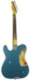 Nash T-57 Guitar, Turquoise over 3 Tone Sunburst, Very Heavy Relic