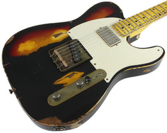 Nash T-57 Guitar, Black over 3 Tone Sunburst, Heavy Relic