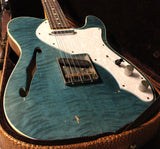 Nash TC-69 Thinline Flame Top Guitar - Aqua Marine