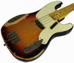 Nash PB-55 Bass Guitar, 3-Tone Sunburst, Heavy Relic