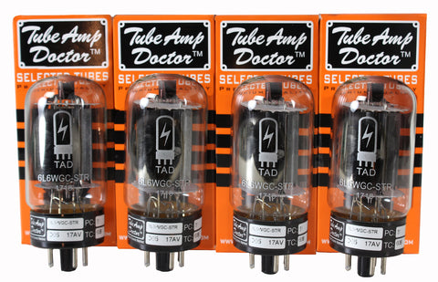 TAD Tube Amp Doctor 6L6WGC-STR, Blackplate, Matched Quartet, Premium