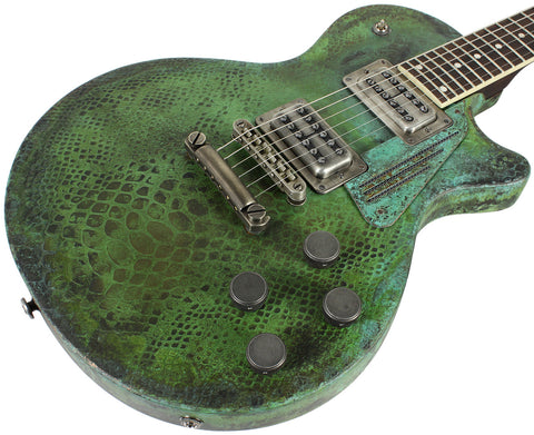 Trussart SteelDeville Guitar in Titanic Green Snakeskin