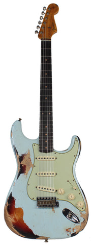 Fender Custom Shop 62 Heavy Relic Strat Guitar, Sonic Blue o/ 3TS