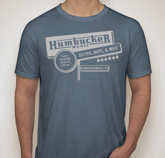 Humbucker Music Vintage Retro Guitar Store T-Shirt, Indigo Blue