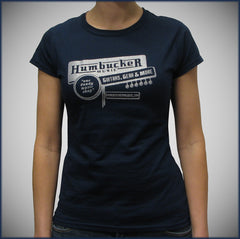 Humbucker Womens Junior T-Shirt - Navy w/ Silver Sparkle Logo