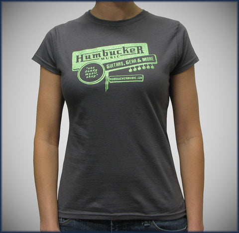 Humbucker Womens Tee - Charcoal Grey w/ Green Sparkle