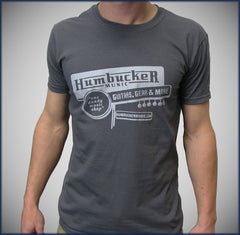 Humbucker Music Mens T-Shirt - Charcoal Grey w/ Silver Metallic (Small Only)