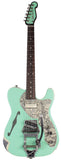 Trussart Deluxe Steelcaster in Surf Green on Cream w/ Roses