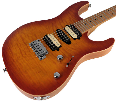 Suhr Limited Modern Satin Flame Guitar, Honey Burst, Hardshell Case