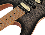 Suhr Limited Modern Satin Flame Guitar, Trans Charcoal Burst, Hardshell Case
