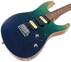 Suhr Modern Select Guitar, Quilted Maple, Aqua Burst Gradient