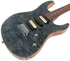 Suhr Modern Select Guitar, Trans Blue Denim Slate, Burl