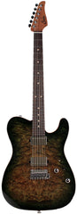Suhr Modern T Select 2021 Guitar, Faded Trans Green Burst Burl