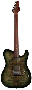 Suhr Modern T Select Guitar, Faded Trans Green Burst Burl