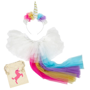Madam Posy Girls Unicorn Horn Headband and Tail Dress Up Costume Set