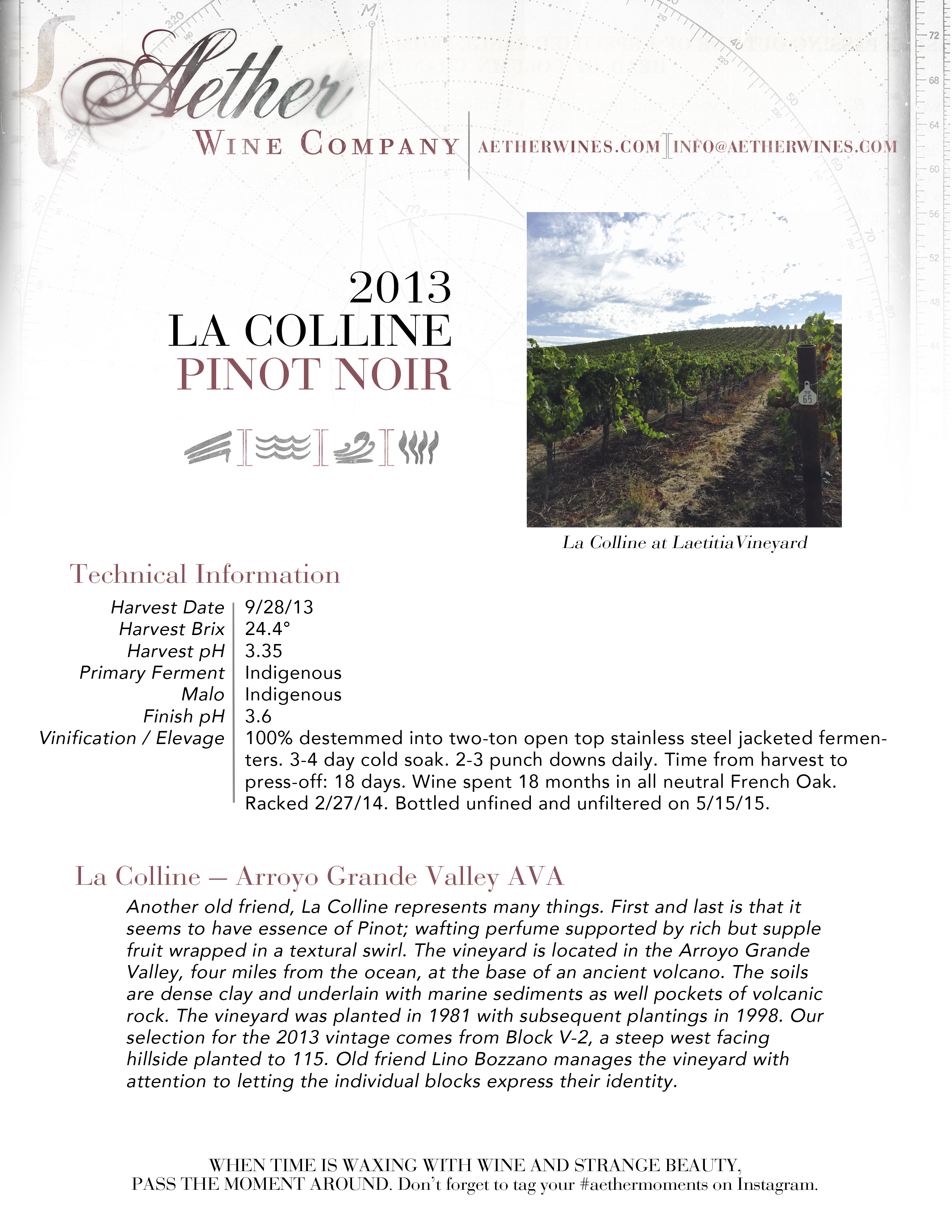 2013 Aether La Colline Pinot Noir Tech Sheet