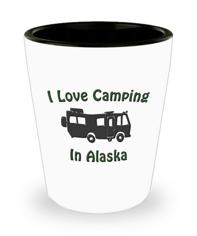 "Motorhome - I Love Camping In ""STATE""- Shot Glass"