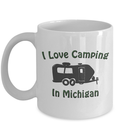 "Travel Trailer - I Love Camping In ""STATE"" - Coffeee Mug"