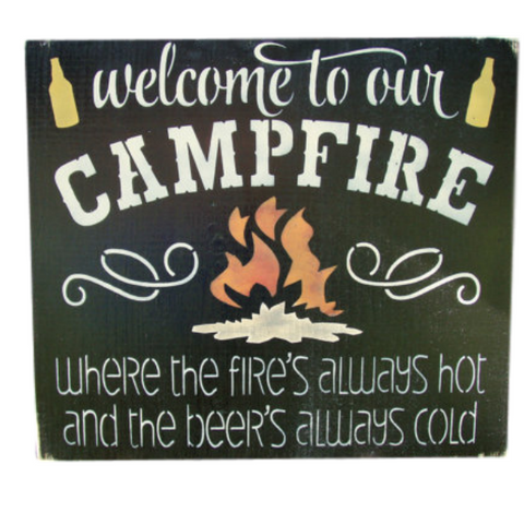 Welcome To Our Campfire Sign Beer Sign Rustic Camping Sign
