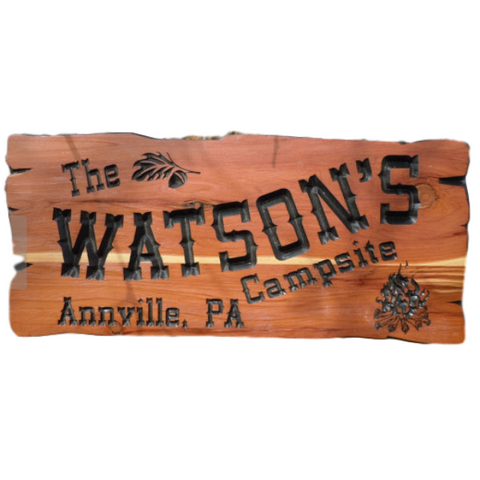 Last Name Campsite Sign Personalized Carved Wooden Rustic Camping Sign