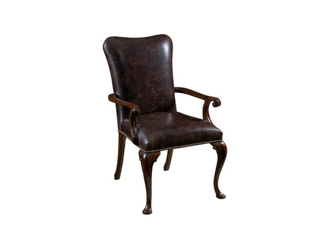 Hyde Park Leather upholstered Dining Arm Chair