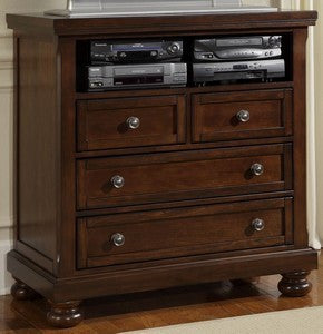 REFLECTIONS Dark Cherry Ent. Center - 4 Drawers, Component Shelf