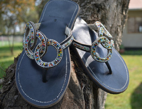Women's Beaded Leather Sandals