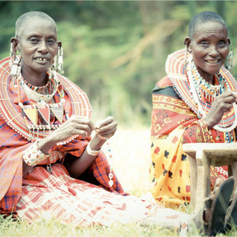 maasai artisans making bush bead jewelry