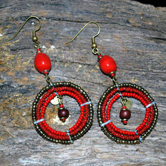 red and antique gold bush bead earrings