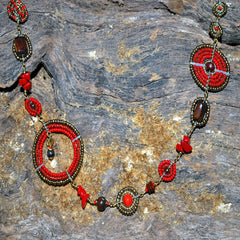 bush bead necklace red and antique gold