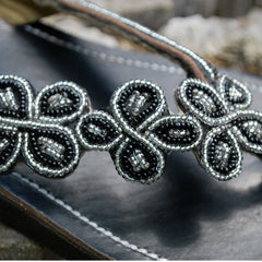 black daisy beaded womens sandals