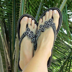 beaded womens sandals black daisy